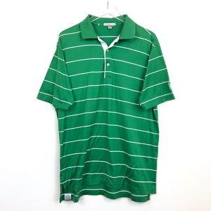 Peter Millar Men's Green White Striped Polo Shirt